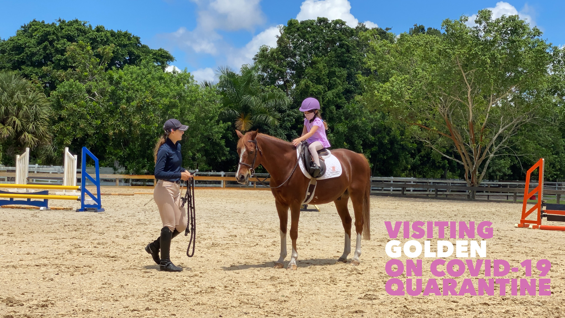 PENELOPE VISITING GOLDEN ON COVID-19 QUARANTINE EQUESTRIAN GIRL